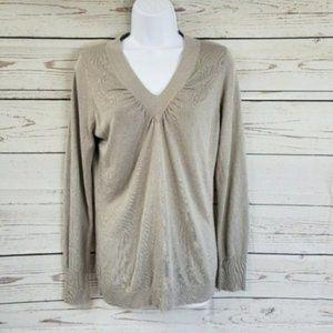 Ann Taylor tan V-neck pullover long sleeve top M